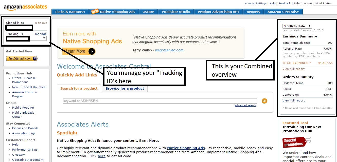 Amazon Associates dashboard